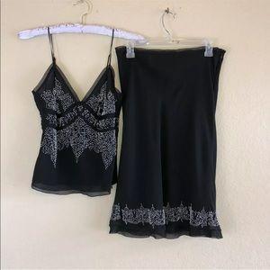 NEW NWT Vintage 90s Black Beaded Skirt & Top Set